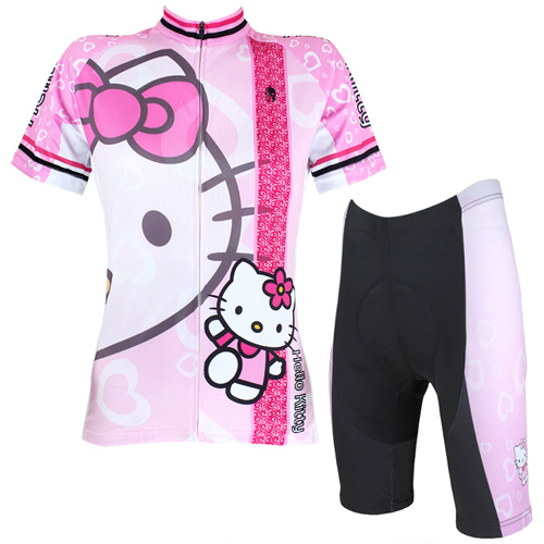 Lovely Hello Kitty cycling jersey pink short sleeve full Zipper bike  clothing large size sports jerseys 3730b5a34