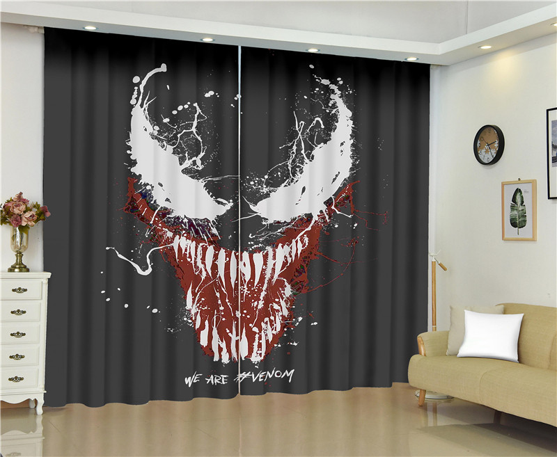 Venom Curtains For Window Marvel Super Hero Blinds Finished Drapes Window Blackout Curtains Parlour Room Blinds