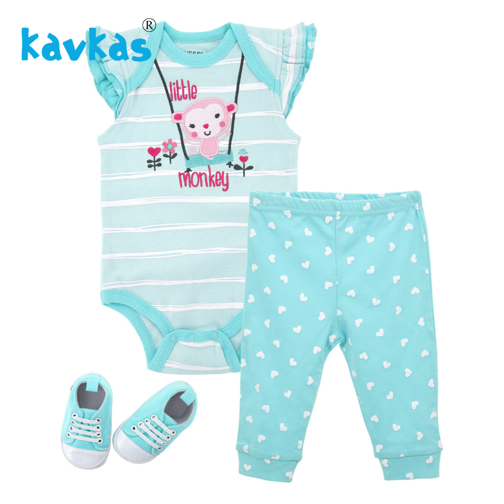 Kavkas Baby Girl Clothes Set Summer Newborn Cotton Baby Girl Jumpsuit (  romper  +Pants+shoes) Monkey Theme Infant   Romper   Set