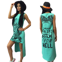 Angel Wings Women Dresses Bad Ass Bitch From Hell Printed Green Dress Sleeveless Short Front Back