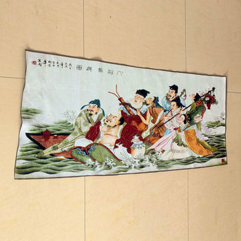 Suzhou hand embroidered satin stitch embroidery machine The Eight Immortals Crossing the Sea decorative painting hanging plaque