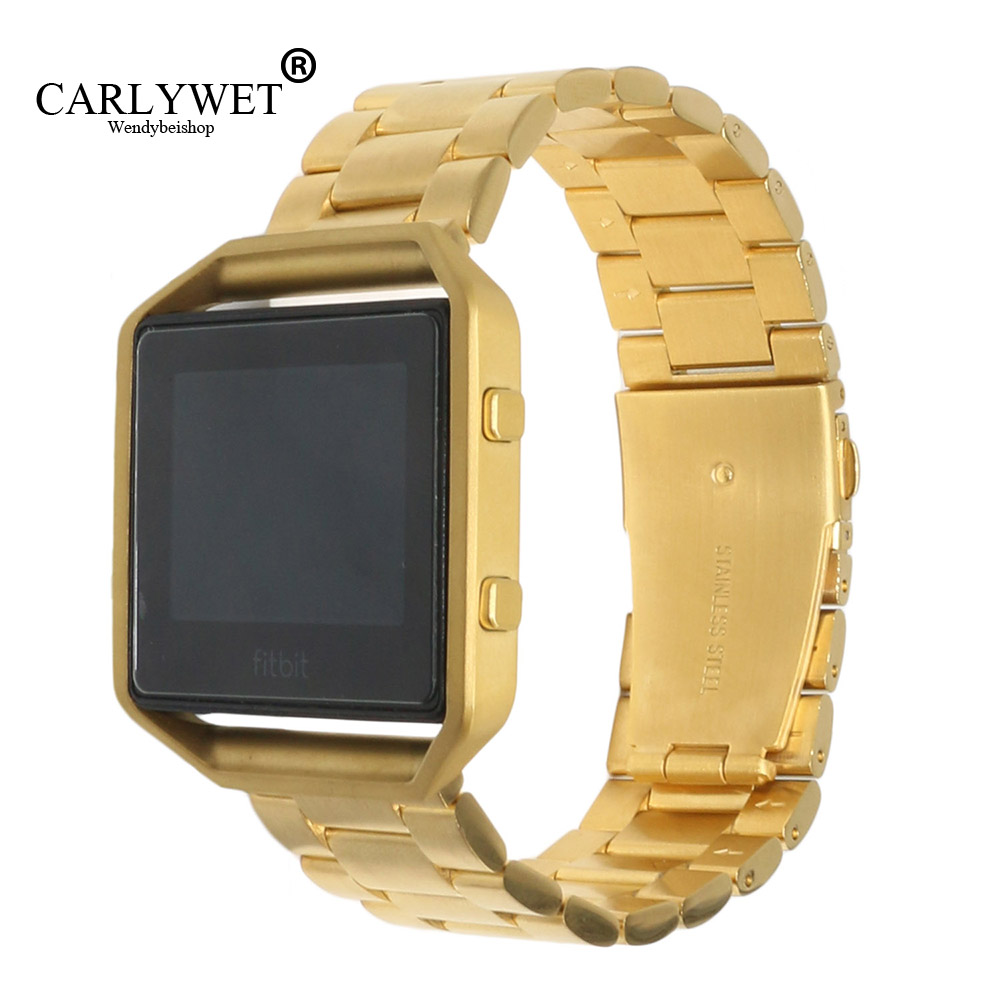 CARLYWET 23mm Gold 316L Stainless Steel Replacement Watch Strap Belt Bracelet With Case Metal Frame For Fitbit Blaze 23 Watch carlywet 23mm black 316l stainless steel replacement watch strap belt bracelet with case metal frame for fitbit blaze 23 watch