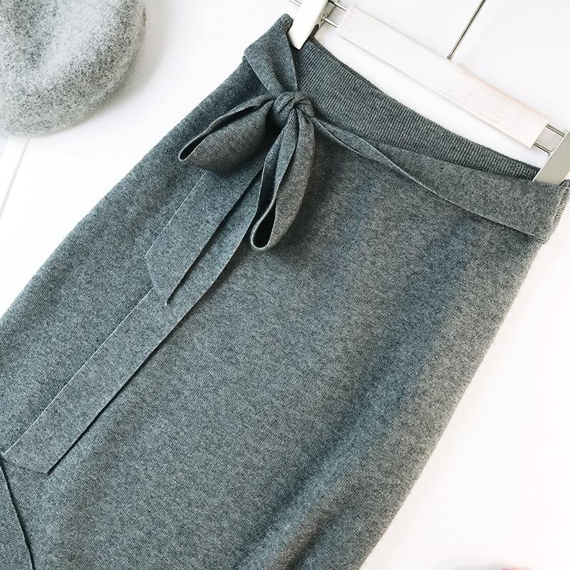 344 water velvet knit skirt women 2018 autumn and winter new women's long section high waist bag hip split A skirts 11