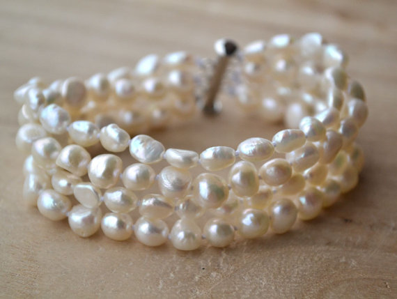 White Pearl Jewellery,7.5inches 6-8mm Rice Genuine Freshwater Pearl Bracelet,4rows Baroque Shape,Magnet Clasp