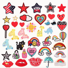 Cartoon Unicorn Rainbow Star Patch Horse Heart Diamond Applique Badge Cute Anime Iron On Embroidered Patches For Clothes