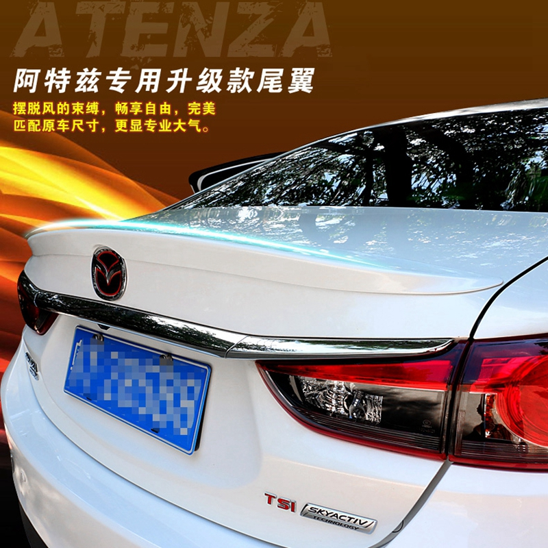 Car Styling ABS Plastic Unpainted Primer Tail Wing Rear Trunk <font><b>Spoiler</b></font> Decorative Cover Fit For <font><b>Mazda</b></font> <font><b>6</b></font> M6 Atenza <font><b>2014</b></font> 2015 2016 image