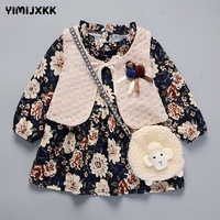 M F Autumn Winter Baby Girl Dress Tutu Princess Birthday Dress Kids Long Sleeve Dress Cartoon