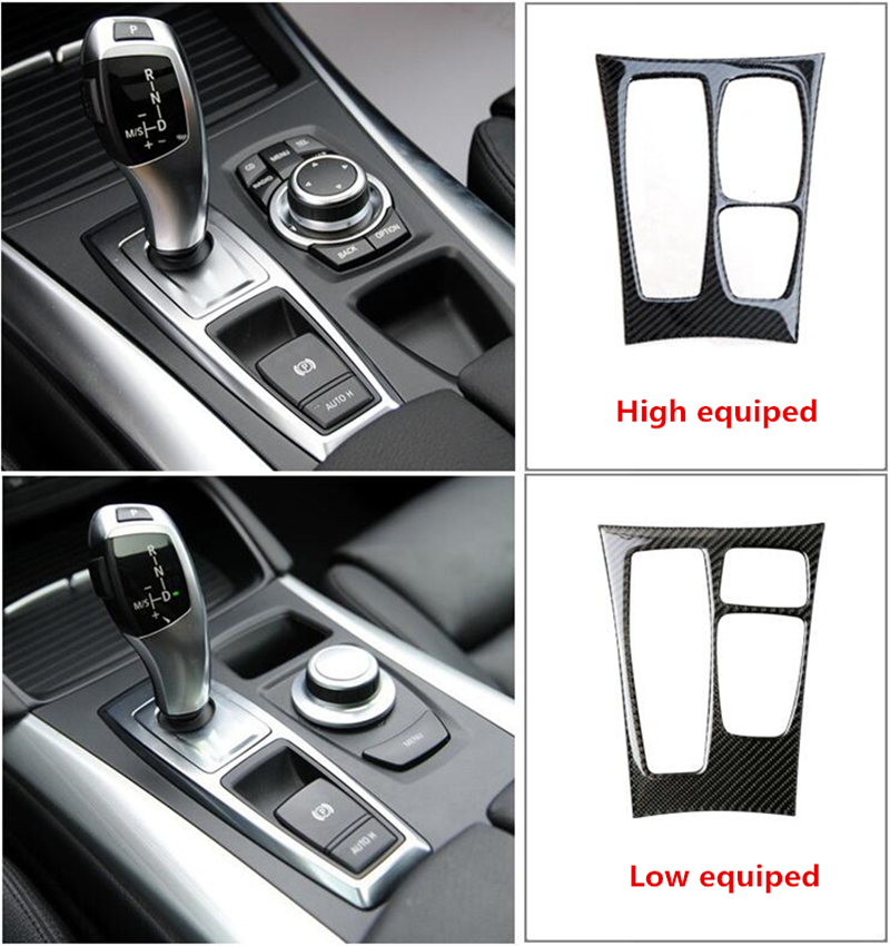 Carbon Fiber Center Console Gear Shift Panel decoration cover trim For BMW X5 e70 X6 e71 Car styling 3D decals