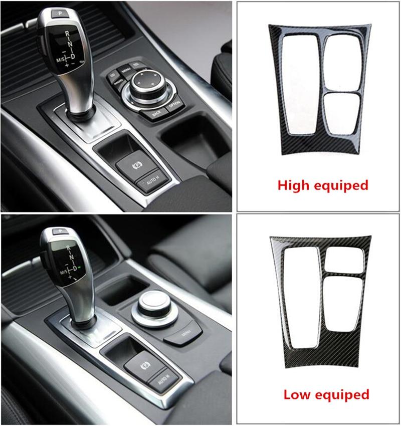 Carbon Fiber Car Interior Gear Panel Cover Trim For BMW X6 E71 2008-2013