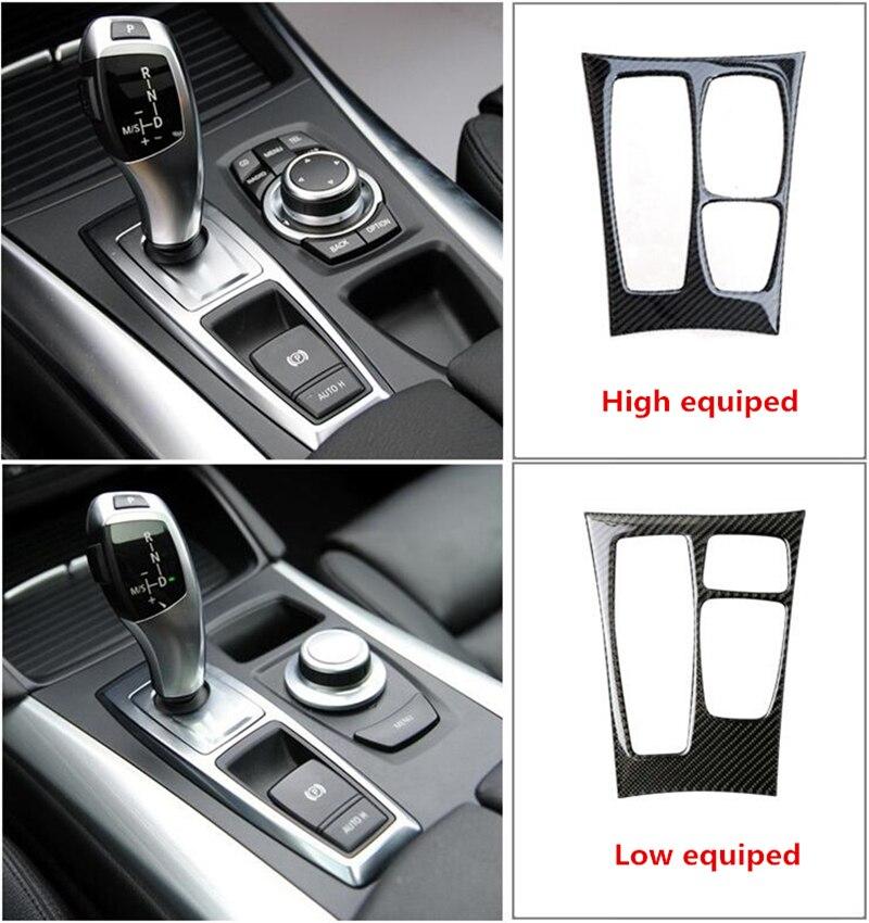 Garniture de couverture de décoration de panneau de changement de vitesse de Console centrale de Fiber de carbone pour BMW X5 e70 X6 e71 décalcomanies 3D de style de voiture