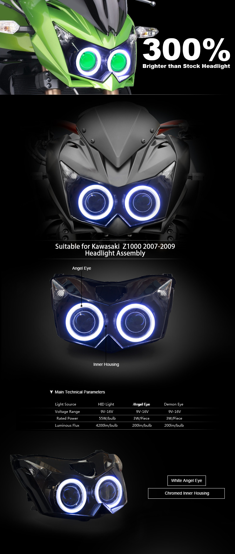 e460fbaf48cc34 ᗜ LjഃKT Koplamp voor Kawasaki Z1000 2007-2009 LED Angel Eye ...