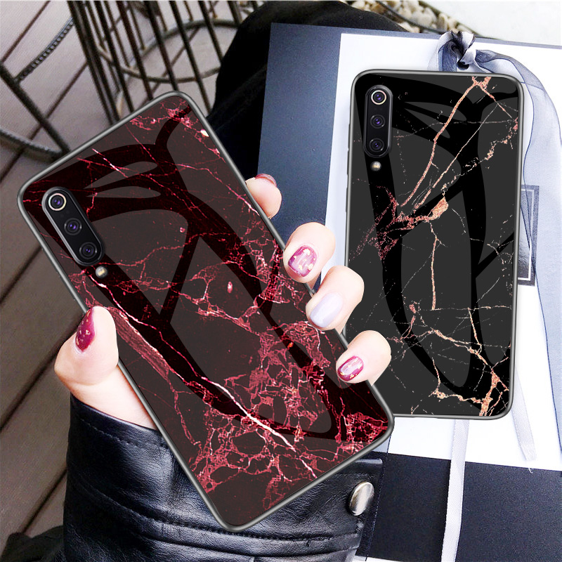 Luxury Marble Tempered Glass Phone Case For Xiaomi Mi 9 SE 8 Lite MAX 2 3 6X 5X Cover For Mi Mix 2 3 F1 9SE 8SE A1 A2 Case Coque-in Fitted Cases from Cellphones & Telecommunications