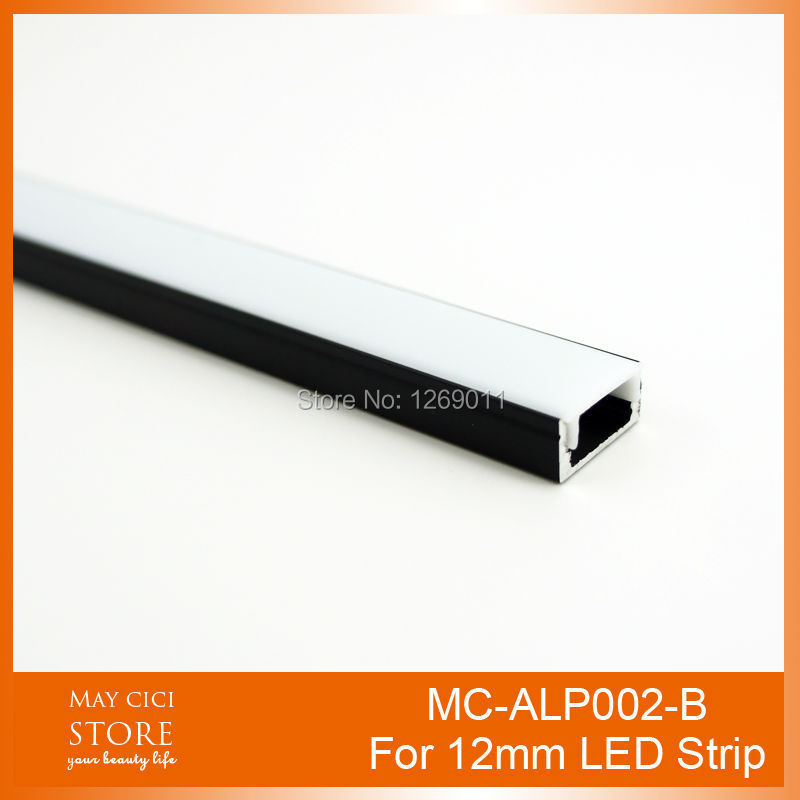 лучшая цена UnvarySam 0.5M Black Super Slim Recessed Aluminum LED Profile without Flange Using for Strip within 12mm