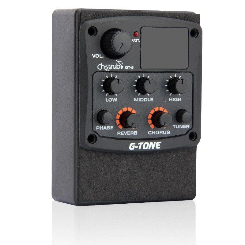 Nouveau G-tone GT-5 Acoustique Preampli Micro Piezo EQ 3 Bandes Égaliseur Accordeur Chromatique Intégré avec Réverbération /Effets de Chorus