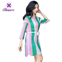 Spring Autumn Plus Size Seven Sleeve Sweater Dress Women Sexy Loose Temperament Stripe Color Irregular Knitted Dresses LQ193