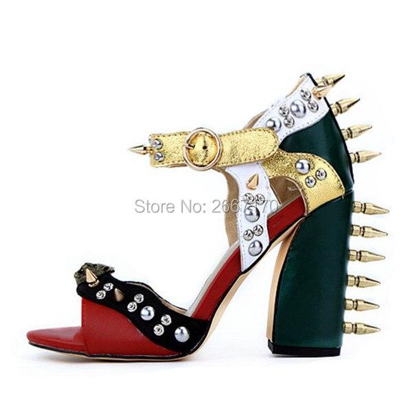 ae185dde198e80 De Cloutés Mesdames 43 Cuir Mode Sandales Talons D'été Malin Taille Couleur  Piste Pic Plus ...
