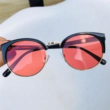 430c08f999 Vazrobe Women Sunglasses Round Transparent Sun Glasses for Woman Punk Half  Frame Cat Eye Fashion Vintage