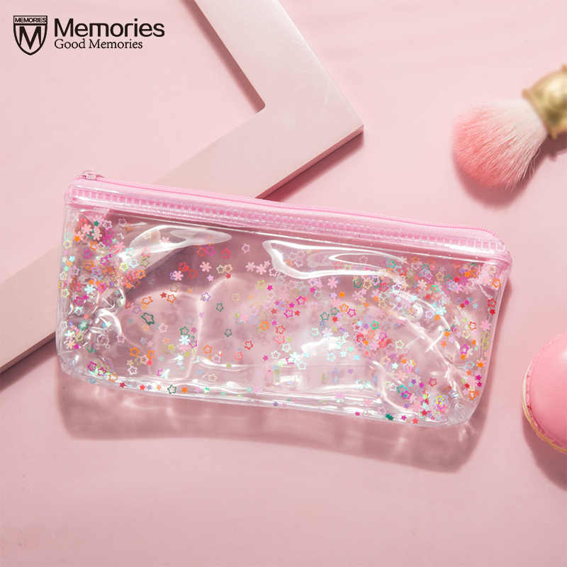 Cute Pink Sequin Transparent Travel Cosmetic Bag Women Make Up Case Makeup Zipper File Bag Organizer Toiletry Storage Kit Box