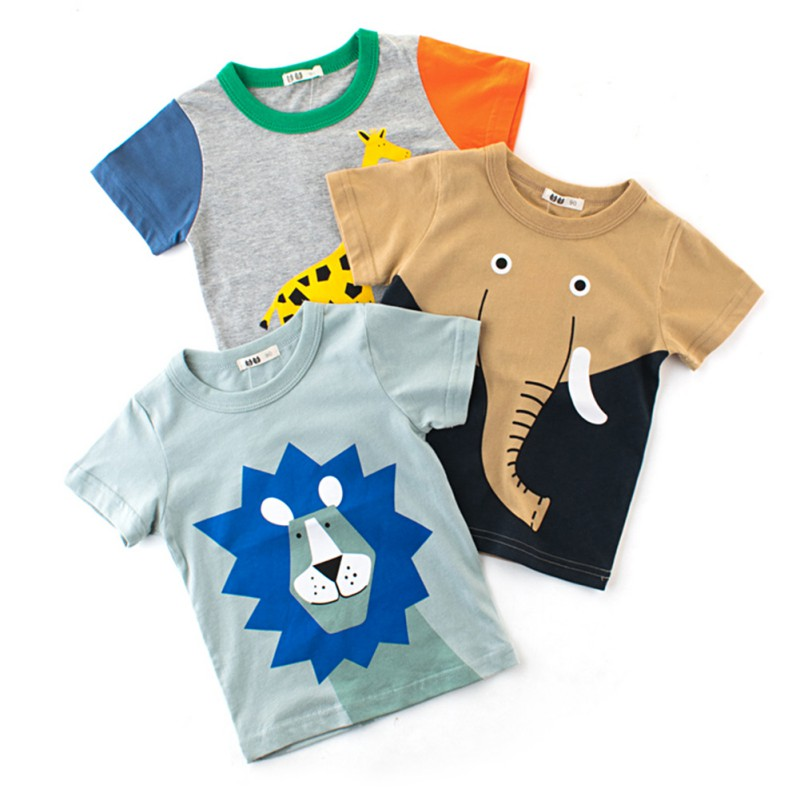 Baby T-shirt for Boys Summer Animal Print Short Sleeve Tee Shirts Kids Elephant Lions title=