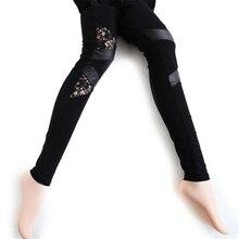2017 New Fashion Sexy Slim Skinny Black Gothic Lace PU Leather Patchwork Stretch High Waist Women Leggings Pencil Pants
