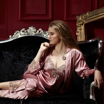 Women Pajama Sets Three Pieces V-Neck Silk Satin Sleepwear Sexy Lace Pijamas Modelos Femininos Plus Big Size XXXL