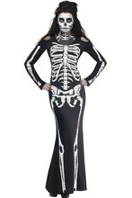 2016 sexy cosplay role clubwear party scary Sugar Skull Adult Catsuit skeleton Long Skeleton Dress Adult Halloween Costume 8877