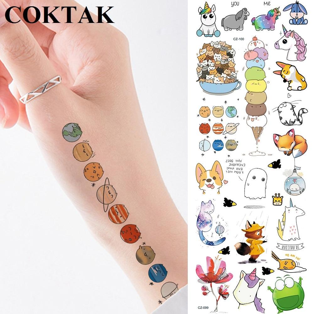 Funny Cartoon Planets Unicorn Tattoos Temporary For Kids Bulk Star Waterproof Tattoo Sticker Paper Custom Fake Tatoos Galaxy DIY(China)
