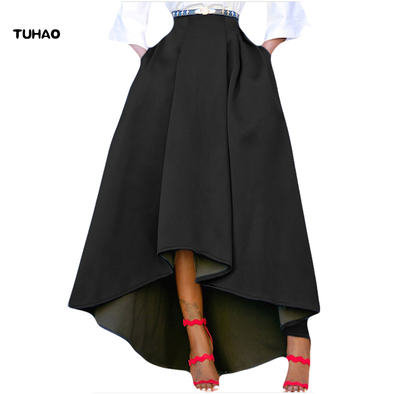 TUHAO Long pleated skirt for female 2017 autumn winter long women pleated skirt plus size 2XL loose casual high waist cloth DL55