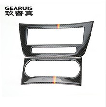 цена на Carbon Fiber Auto Interior Trim Air conditioning CD Control Panel Car Styling Stickers Cover For Mercedes Benz C Class W204