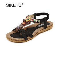 STARWISH Fashion Ethnic String Beaded Bohemia Sandals For Women New Ladies Casual Flat Gladiator Sandals Size