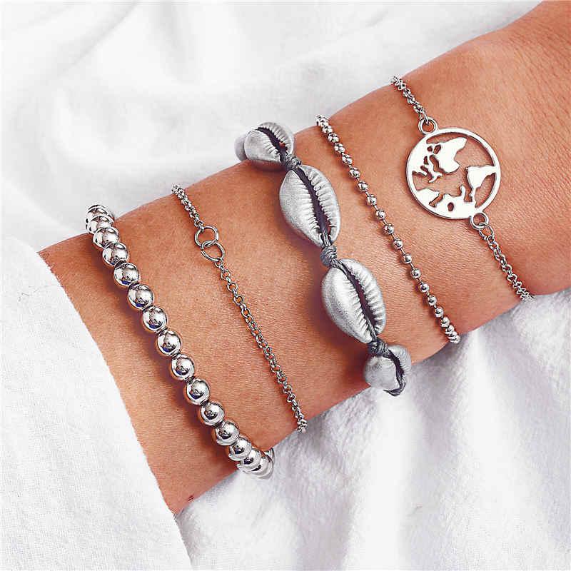 """17 KM бесконечные бусины из ракушек браслеты и браслеты для женщин богемные регулируемые несколько слоев серебряный браслет набор ювелирные изделия в стиле """"Бохо"""""""