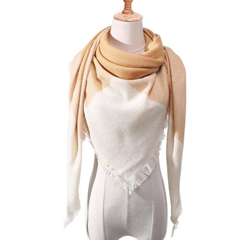 Бандана палантин платок на шею шарф зимний Дизайнер трикотажные весна-зима женщины шарф плед теплые кашемировые шарфы платки люксовый бренд шеи бандана пашмина леди обернуть - Цвет: c7