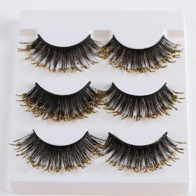 3 Pairs Fashion Stage Golden Glitter False Eyelashes Thick Long Full