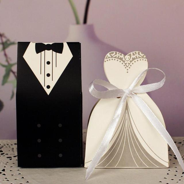 New 30pcs Lot Bridal Gift Bag Cases Groom Tuxedo Dress Gown Ribbon Wedding Favor Candy