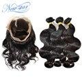 New star brasileira virgem extensão do cabelo 360 lace frontal encerramento com 3 bundles cabelo humano weave onda do corpo para as mulheres negras