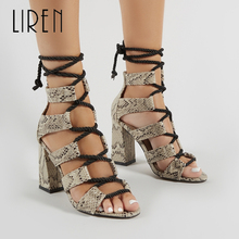Liren 2019 Summer New Snake Pattern Lace-Up Women Sandals Sexy Fashion Novelty Gladiator Lady Party Shoes