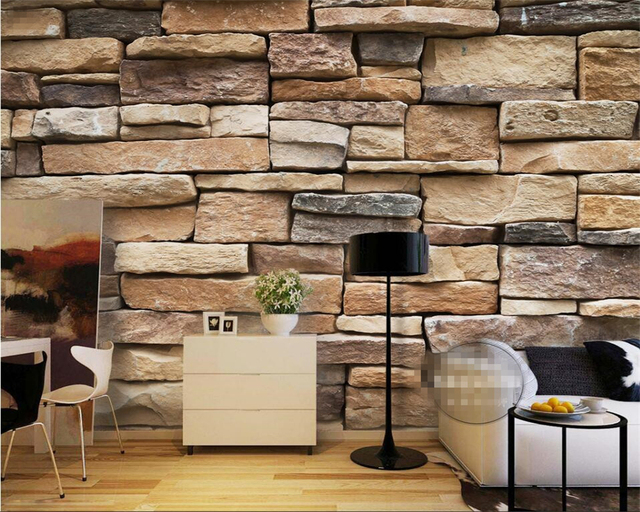 Beibehang Photo Wallpaper Modern 3d Bricks Simple Brick Stone Stones Pile Art Design Bedroom Office