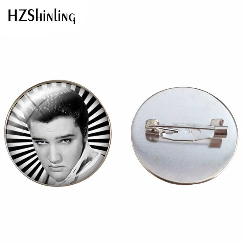 New Arrival Elvis Presley Glass Cabochon Art Printed Photo Brooch Pins Audrey Hepburn Photos Jewelry Brooches Accessories
