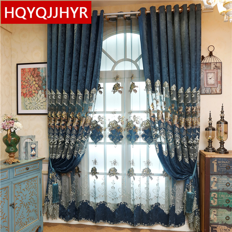 2019 Hot Custom European Royal Blue Big Flower Luxury Curtains For Living Room  Embroidered Voile Drapes Window Curtain Bedroom