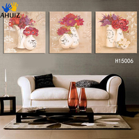 Frameless Pictures Paint Oil Red Flower Painting On Canvas Gift Set Of Flower Free Shipping 3