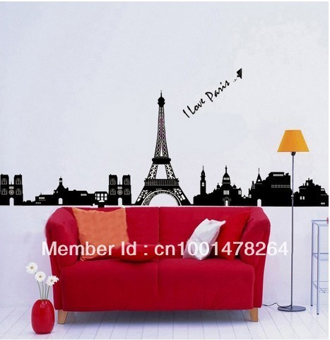 "Paris Eiffel Tower REMOVABLE Black Wall Vinyl Sticker Wall Decal,""I Love Paris!"""