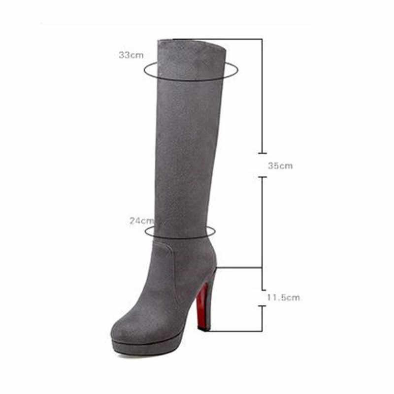 Feiyitu mode daim cuir genou haute bottes longues femmes talons hauts bout rond bottes femmes épaisse plate-forme Slim bottes vin