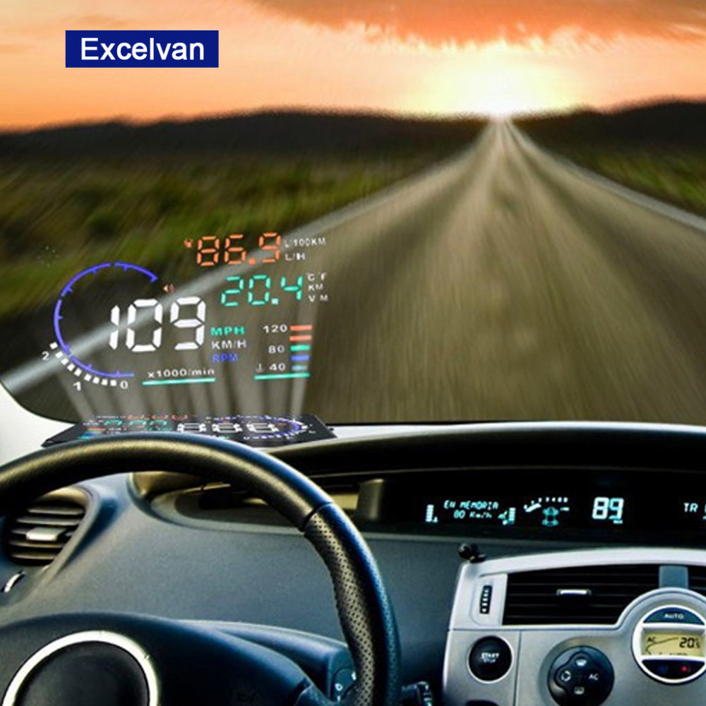 Aliexpress com buy excelvan a8 5 5 auto car head up display hud projector obd ii vehicle speeding warning mph with anti slip pad fuel speedometers from