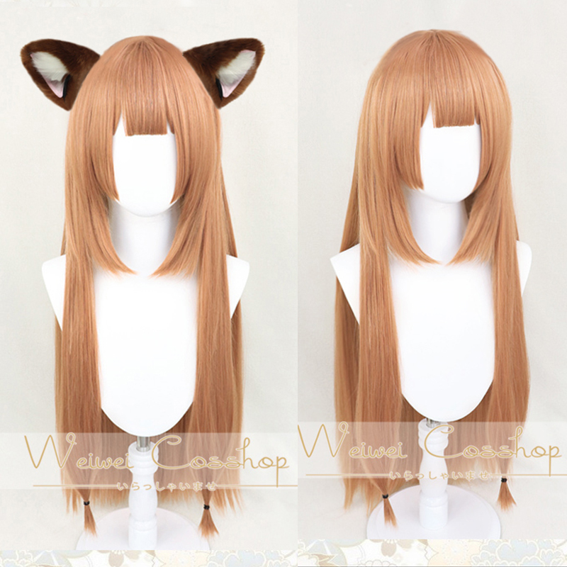 The Rising Of The Shield Hero Raphtalia Rafutaria 90cm Long Linen Brown Heat Resistant Hair Cosplay Costume Wigs + Ear Hairpins