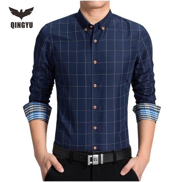 Мужчины Рубашка С Длинными Рукавами Рубашки Марка Мужчины Casual Male Тонкий Решетки Рубашки Сорочка Мужская Camisas Рубашки Плюс Размер М-6xl