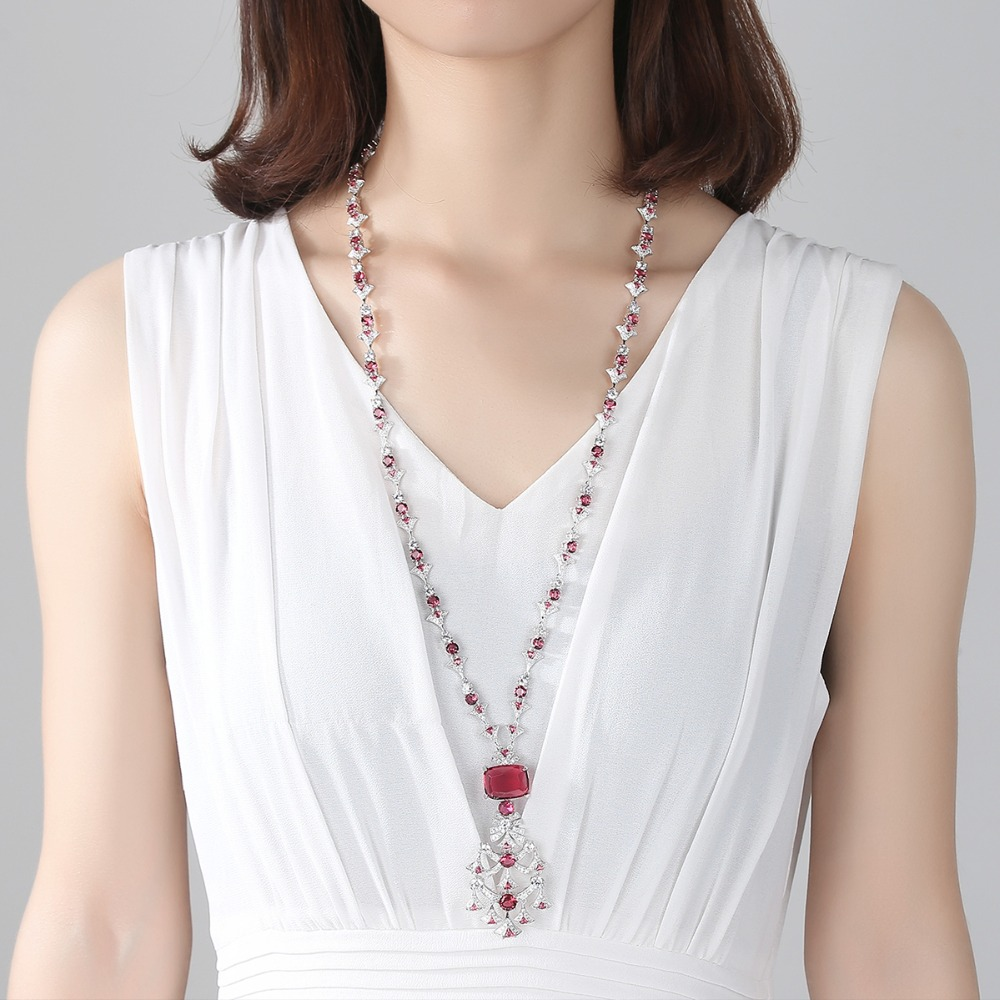 Image 3 - LUOTEEMI New Ethnic Chandelier Necklace for Women Luxury CZ  Jewelry for Wedding Party Double Color Colar Feminino Christmas  GiftPendant Necklaces