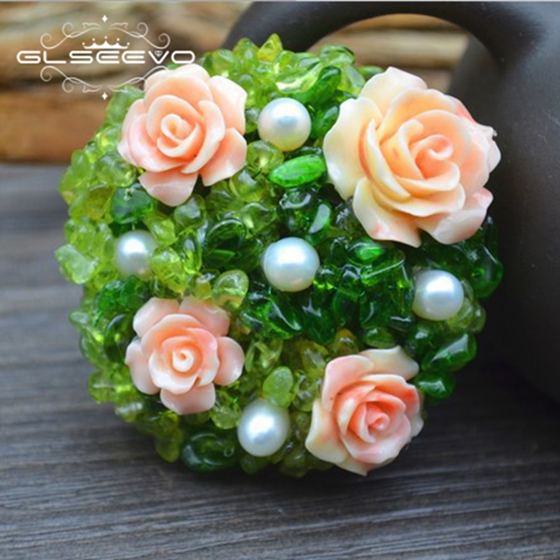 GLSEEVO Natural Peridot Fresh Water Pearl Brooch Pins Coral Flower Brooches For Women Dual Use Designer Luxury Jewelry GO0261