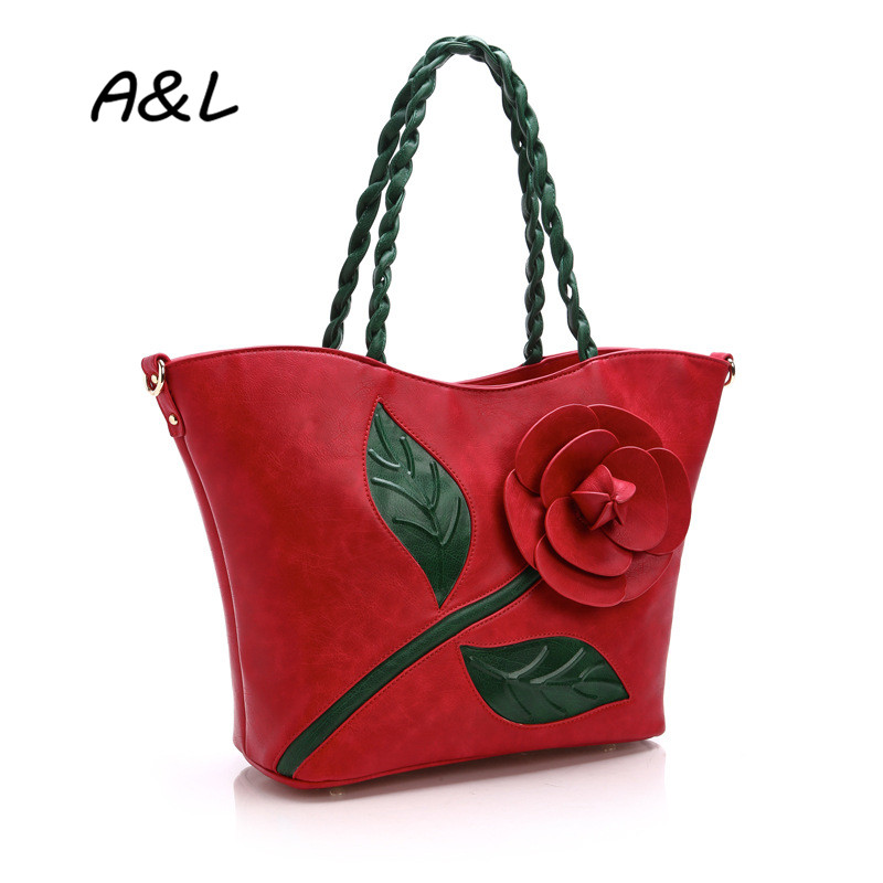 2016 Luxury Brand Handbag Women Bag New Fashion Designer Flower Tote Lady Vintage Casual PU Leather Shoulder Messenger Bag A0072 luxury genuine leather bag fashion brand designer women handbag cowhide leather shoulder composite bag casual totes