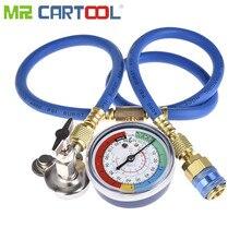 Mr Cartool R134A R22 R12 냉매/프레온은 가정용 및 자동차 에어컨 용 압력 게이지가있는 충전 호스 키트를 누를 수 있습니다.