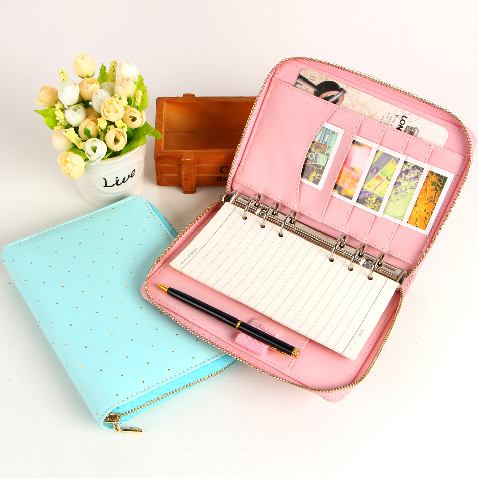 New Macaron zipper binder spiral notebook Multi function